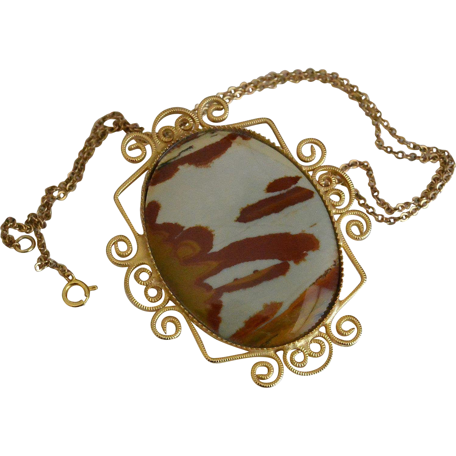 Abstract Cameo Pendant Necklace and Brooch Pin