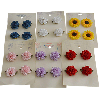 24 Handcrafted Ribbon Button Covers of Flowers