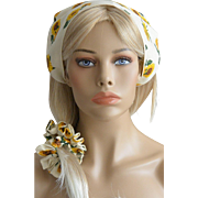 Babushka And Hair Scrunchie Set-Sunflowers on Ivory White New Old Stock