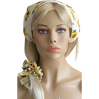 Sunflowers Hair Scarf And Scruncie Set New Old Stock