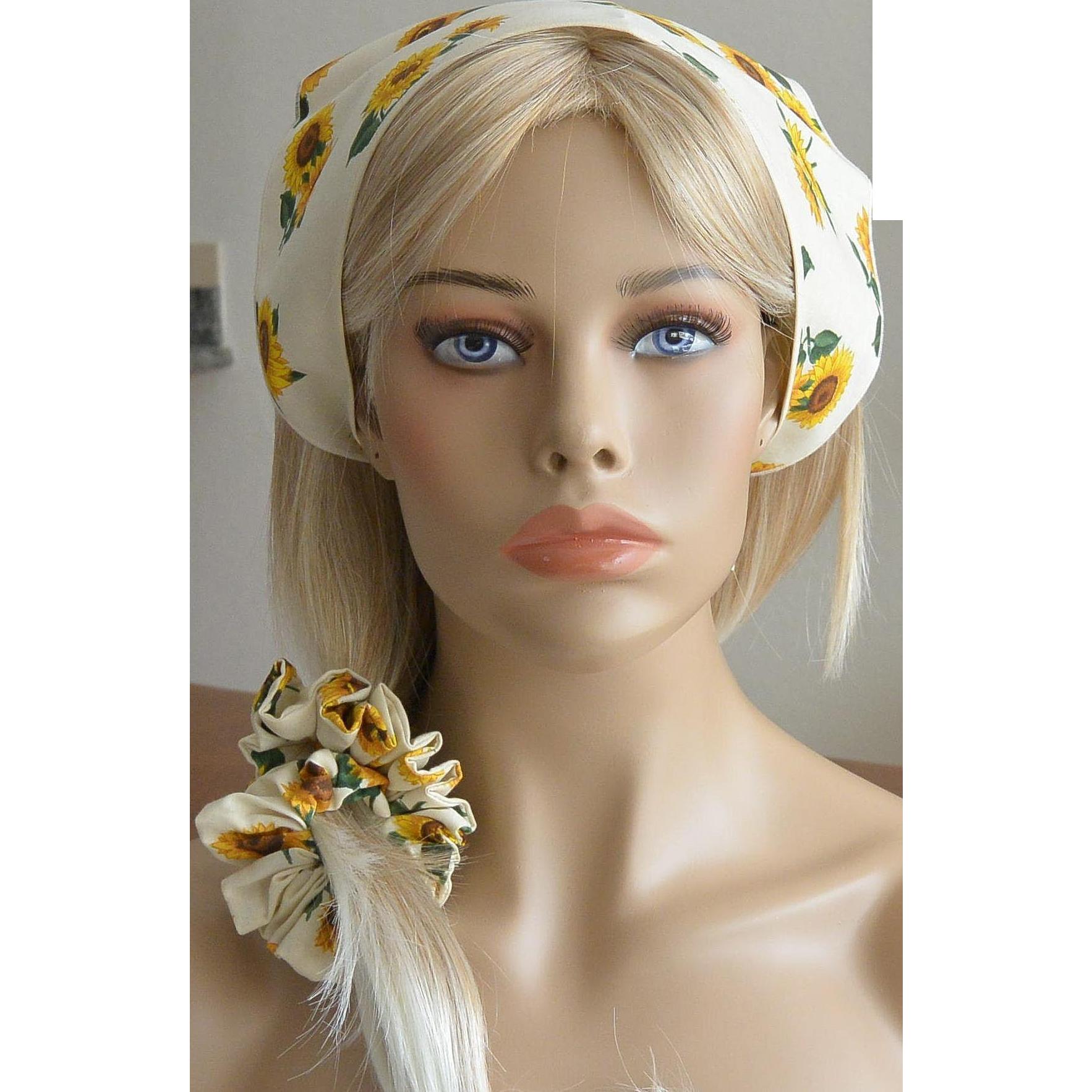 Babushka And Hair Scrunchie Set-Sunflowers on Ivory White New Old Stock