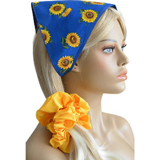 Sunflowers on Blue Hair Scarf And Scruncie Set New Old Stock