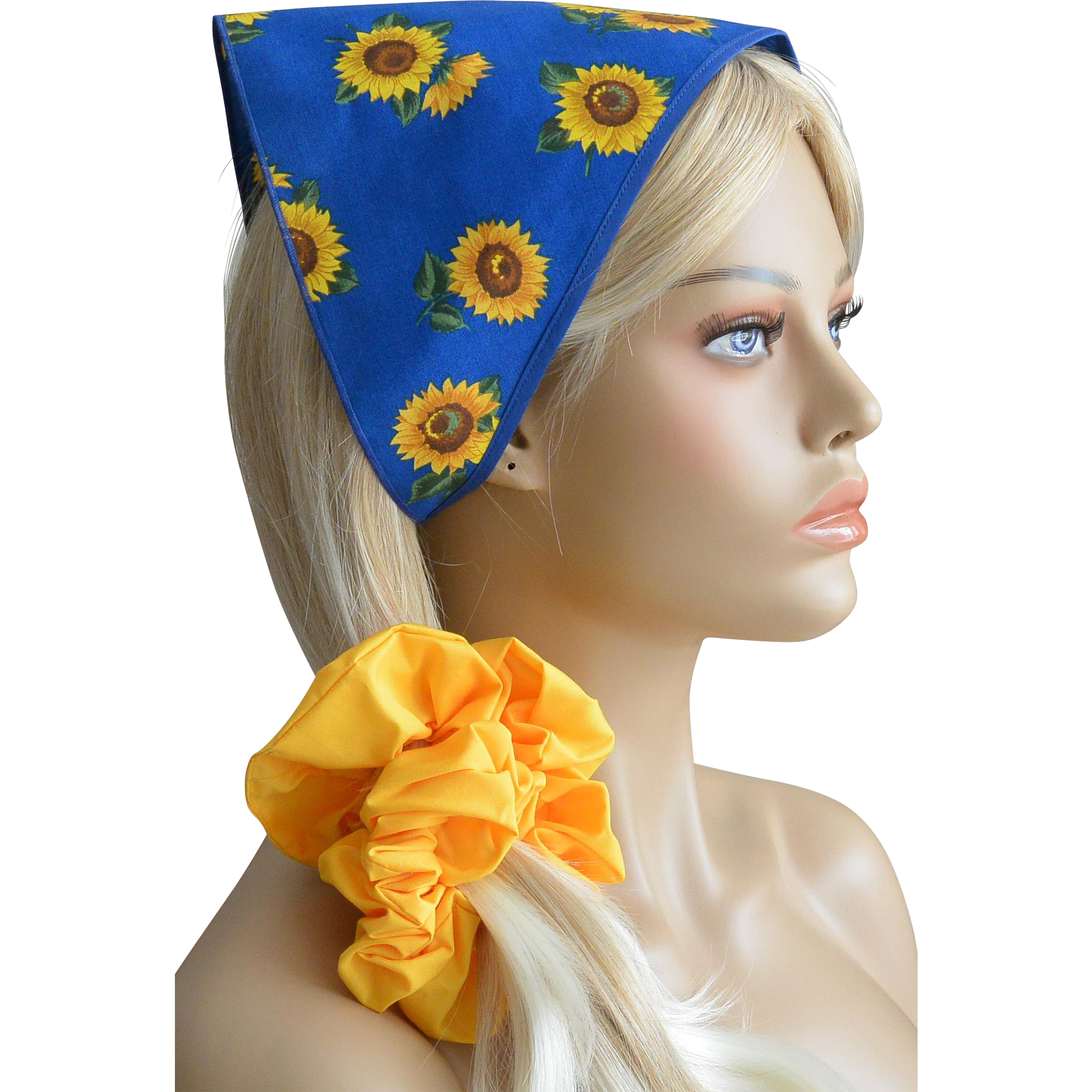 Babushka And Hair Scrunchie Set-Sunflowers on Royal Blue New Old Stock