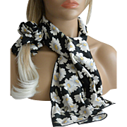 Daisies on Black Three Piece Matching Scarf Set Hair Scruncie and Corsage New Old Stock