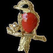 Red Breasted Bird Enamel Pin