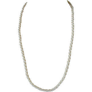 Marvella 30.0 Inch Faux Pearls Braid Necklace