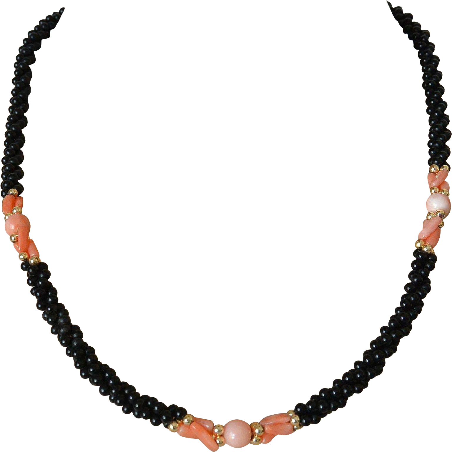 Black Glass Beads And Faux Coral Twisted Braid Necklace