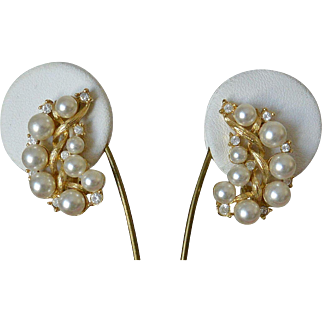 Faux Pearls and Rhinestones Clip Earrings
