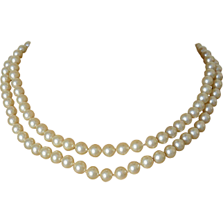 Crown Trifari Mid Century Two Strands Faux Pearls Necklace