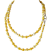 Yellow Marbled Lucite Swirl Beads Necklace 56.0 Inches