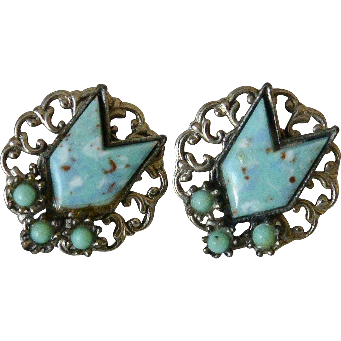 Faux Turquoise Chevron Screw Back Earrings