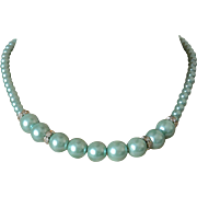 Aqua Faux Pearls Necklace with Rhinestone Rondelles