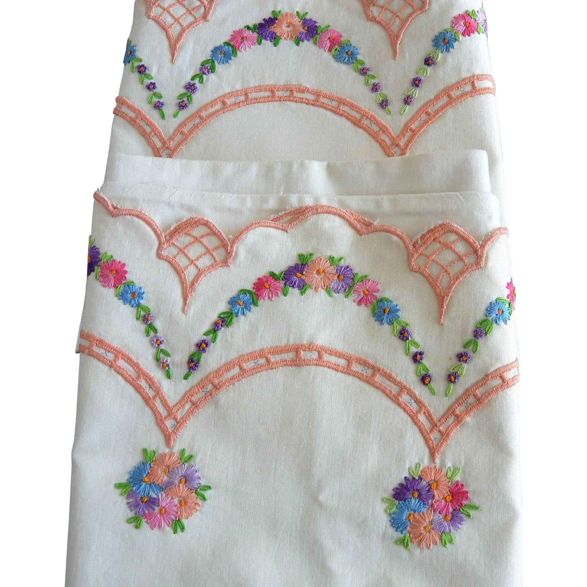 Embroidered Pillow Cases New Old Stock Garlands and Flowers