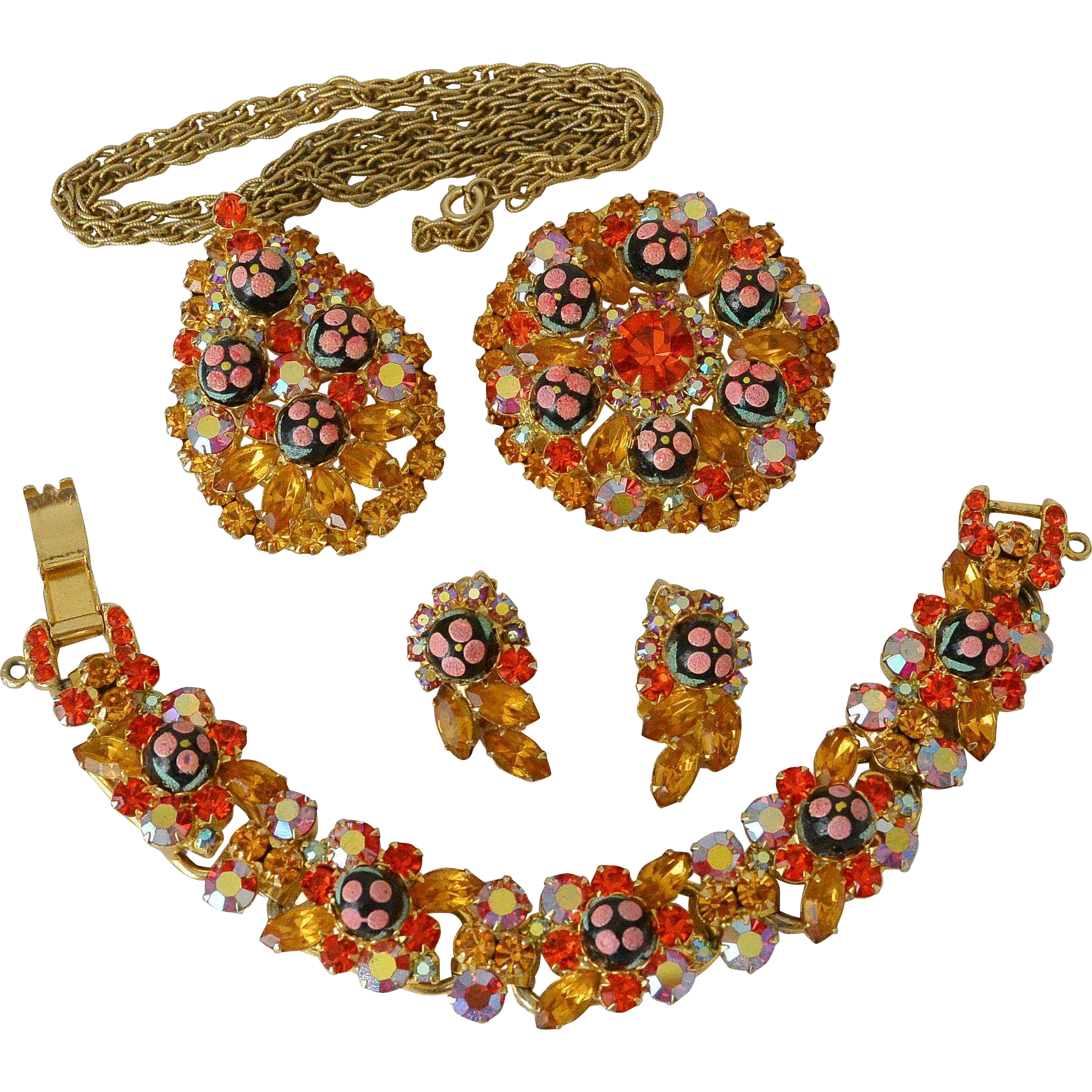 Juliana Four Piece Set Polka Dot Sugar Beads Orange and Jonquil Rhinestones