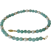Green Glass Beads and Faux Pearls Necklace