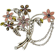 Enameled Flower Bouquet Brooch Pin