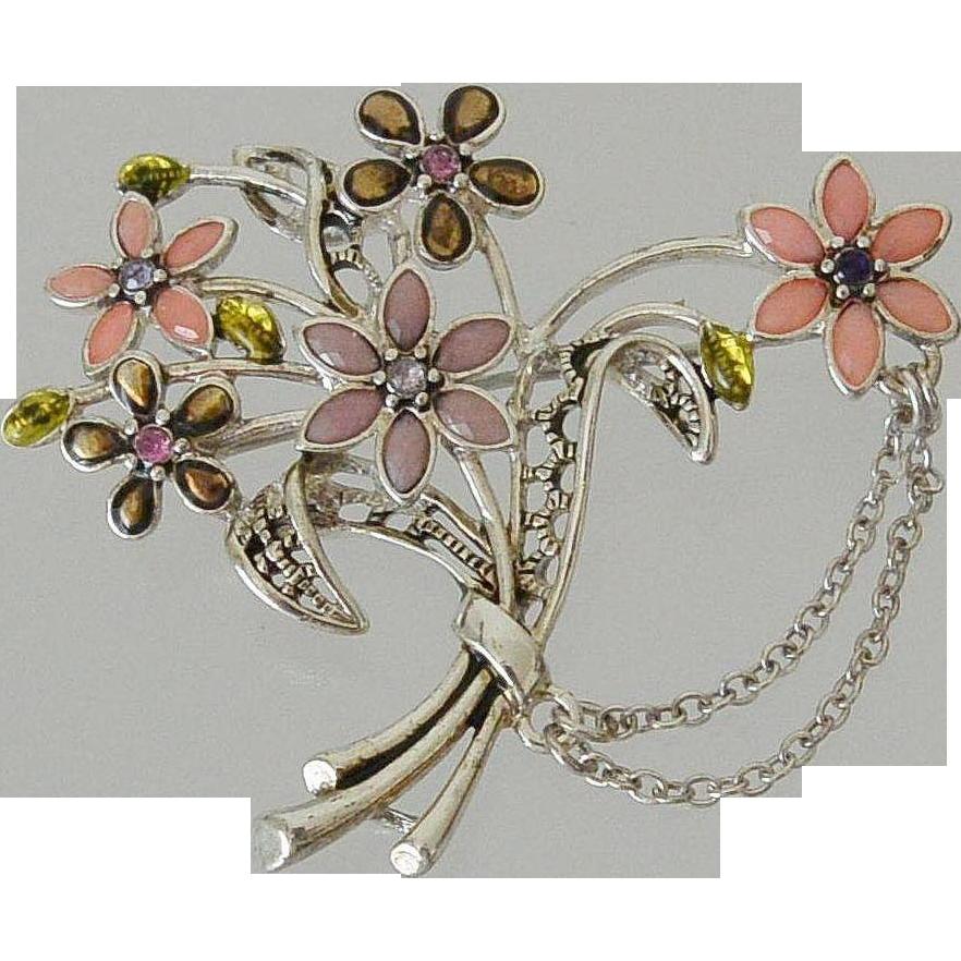 Enameled Flower Bouquet Brooch Pin
