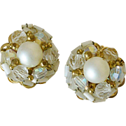 Glass Pearls and Crystal Bead Cluster Clip Earrings