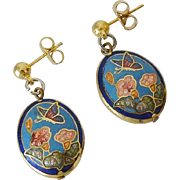 Cloisonne and Enamel Butterfly Flowers Dangling Post Earrings