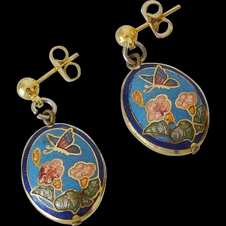 Cloisonne and Enamel Butterfly Flowers Dangling Post Earrings