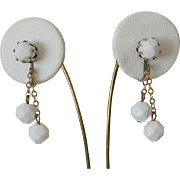 White Lucite Bead Dangle Clip Earrings