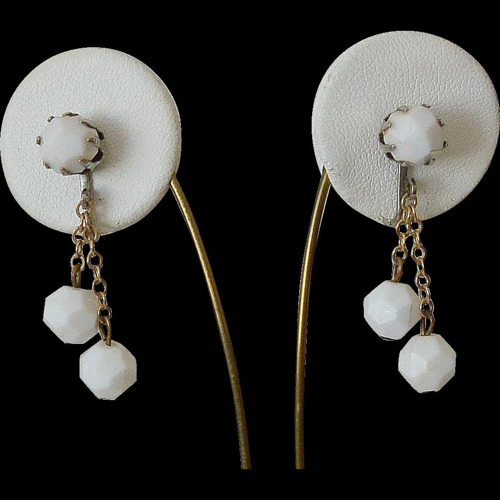 White Lucite Bead Dangle Clip Earrings