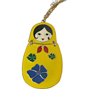 Russian Doll Theme Enameled Pendant Necklace 33.0 Inch
