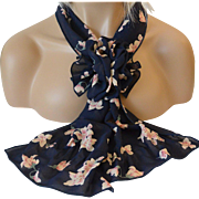 Rectangular Scarf and Corsage Set – Flowers on Navy