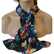Rectangular Scarf and Corsage Set – Bright Flowers on Black