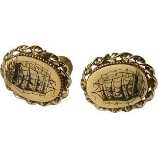 Nautical Theme Colonial Ship Screw Back Cameo Earrings