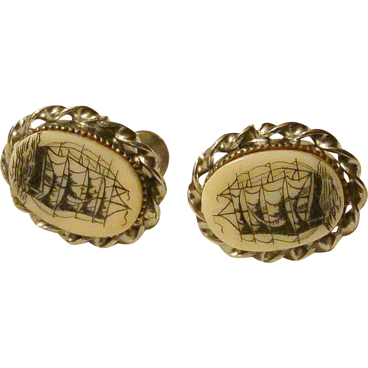 Nautical Theme Colonial Ship Screw Back Cameo Earrings