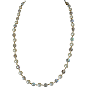 30.0 Inch Necklace Glass Pearls and Aurora Borealis Crystal Beads