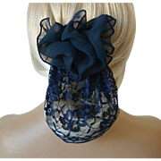 Lace and Chiffon Snood with Barrett – Navy Blue