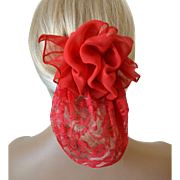 Lace and Chiffon Snood with Barrett - Red Color