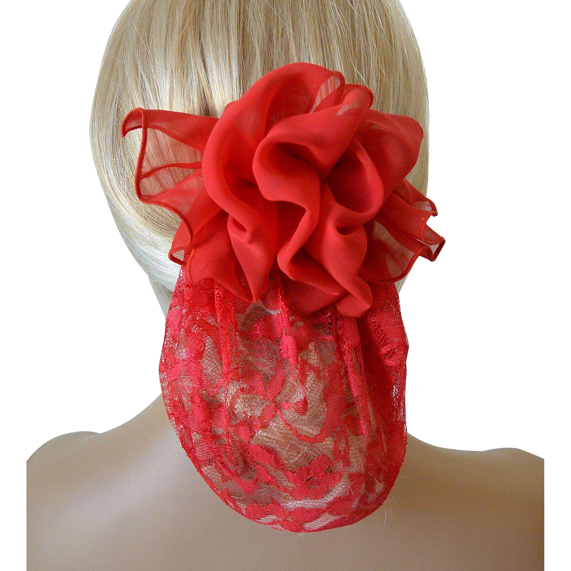 Red Lace and Chiffon Snood with Barrett