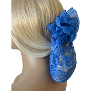 Lace and Chiffon Snood with Barrett French Blue