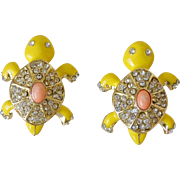 Rhinestone Enameled Turtle Figure Post Earrings