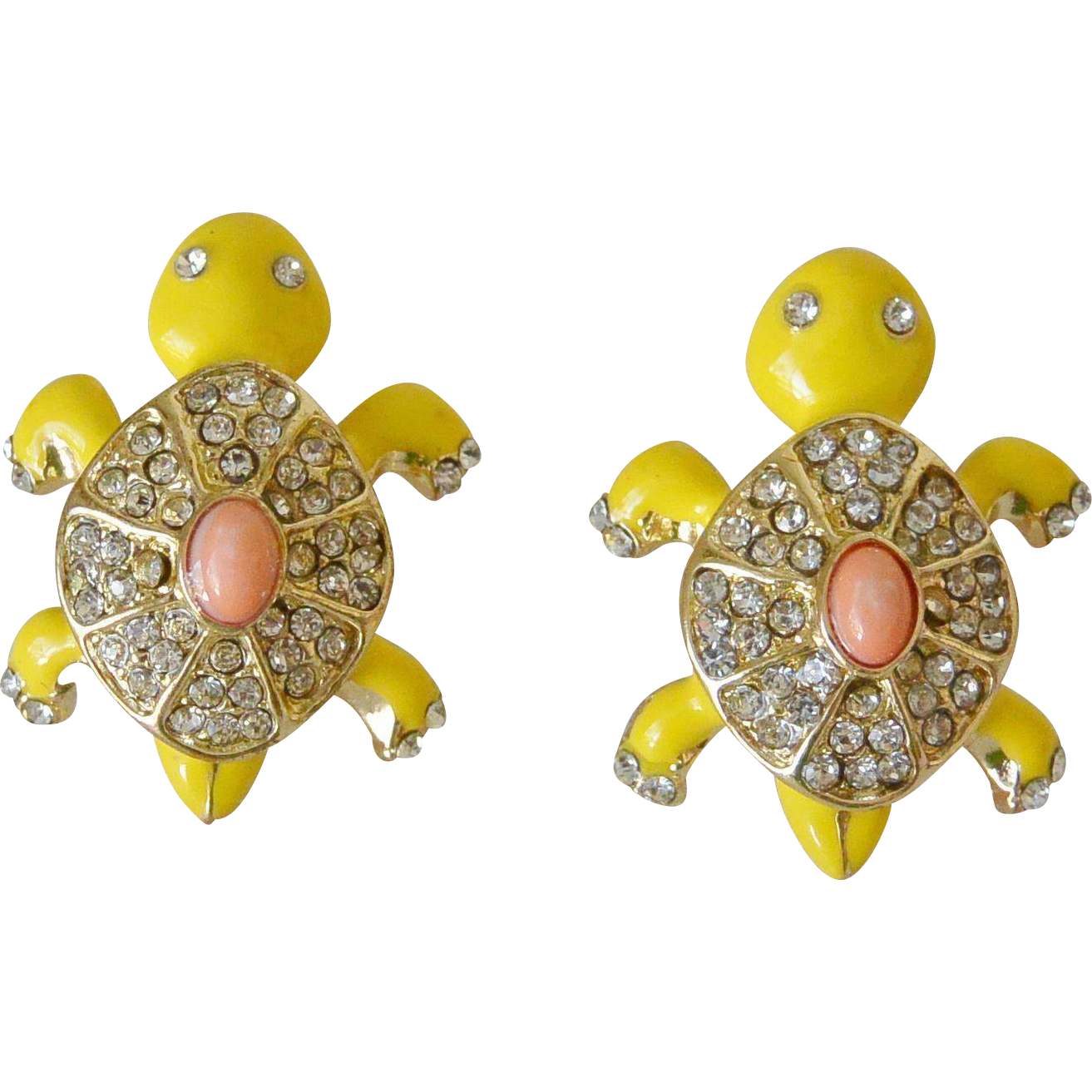 Rhinestone Enameled Turtle Figure Post Earrings