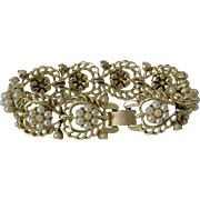 Coro Pegasus Hearts and Faux Pearl Florets Link Bracelet