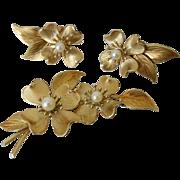 Krementz Dogwood Flower Simulated Pearl Pin and Screw Back Earrings