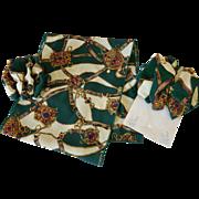 Three Piece Set Scarf  Forest Green Pattern