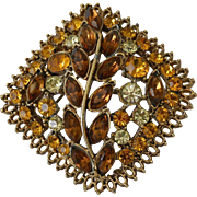 Topaz and Citrine Rhinestone Brooch Pin Like ART Mode