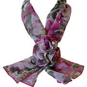 Chiffon Scarf and Corsage Set Pink Rhododendron Flowers New Old Stock