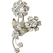Floral Motif Two Dimensional Clear Rhinestone Pin