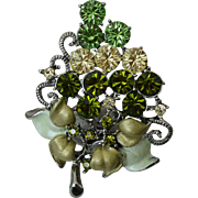Gorgeous Rhinestone Brooch Pin Green Colors Grape Vine Motif
