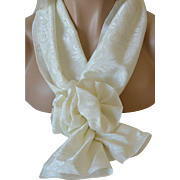 Jaquard White on White Rectangular Scarf and Corsage Set – New Old Stock