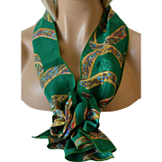 Rectangular Scarf and Corsage Pin Set Green with Ribbon Pattern New Old Stock