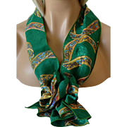 Scarf Set - Rectangular Scarf with Corsage Pin Bold Hunter Green Pattern New Old Stock