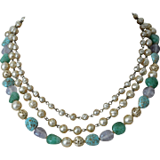 Vintage Japan Baroque Faux Pearls Glass Beads Necklace