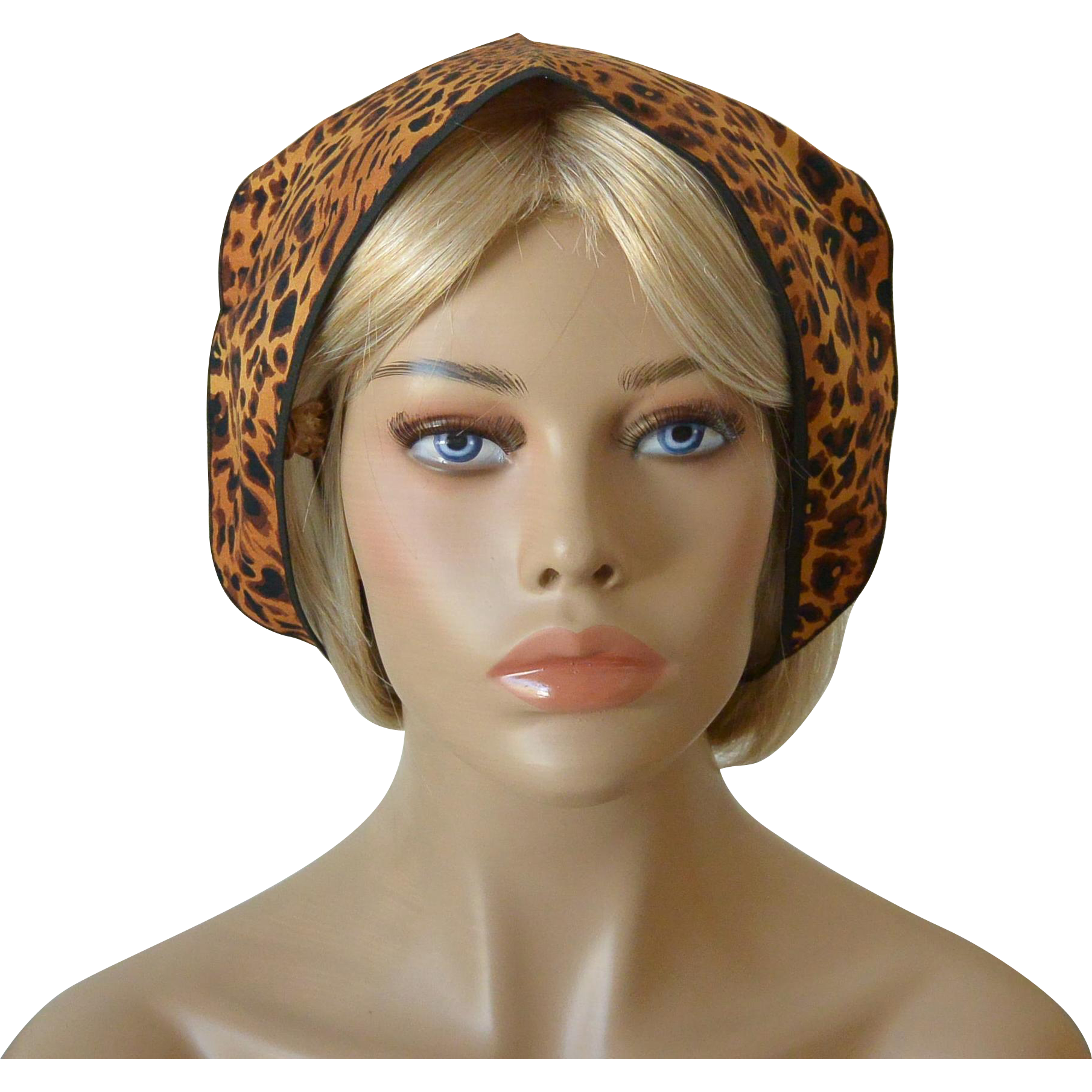 Babushka and Head Band Set-Leopard Pattern